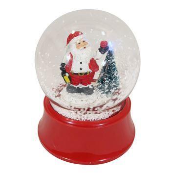 Imagen de Adorno navideño bola de vidrio con nieve, con luz, música y movimiento, en caja