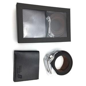 Imagen de Billetera de caballero y cinturón de cuerina, en caja