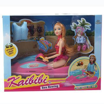 Imagen de Muñeca articulada con moto de agua y accesorios, en caja