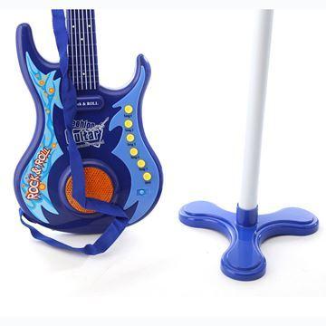 Imagen de Instrumentos musicales, guitarra eléctrica y micrófono de pie, 3AA, en caja
