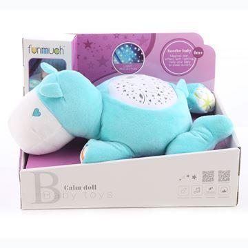 Imagen de Dormidera peluche hipopótamo, con proyector de luz, 3AAA, en caja