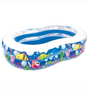Imagen de Piscina inflable 2 aros, 850 litros, diseño peces, en caja, Jilong