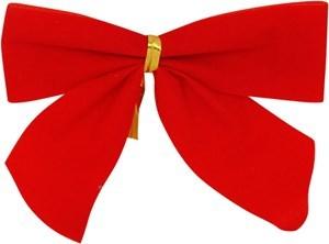 Imagen de Adorno navideño moñas rojas lisas x6, en cartón