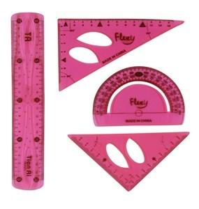 Imagen de Juego de geometría 4 piezas, 30cm, flexible, en bolsa, varios colores