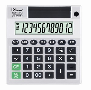 Imagen de Calculadora de mesa KENKO, 12 dígitos, display grande, con porta lápiz y porta hojas, 1AA, en caja