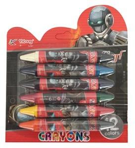 Imagen de Crayolas gruesas dobles x6, en blister, Yalong