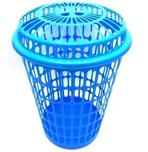 Imagen de Cesto para ropa calado con tapa, de plástico, varios colores