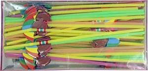 Imagen de Sorbitos de plástico flexibles, fluorescentes decorados, caja x50