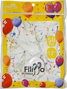 "Imagen de Globo 12"" FILIPPO blanco, bolsa x50"