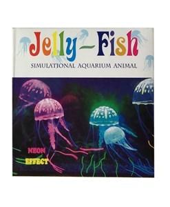 Imagen de Medusa decorativa para acuario, queda fluorescente con la luz, en caja