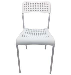 Imagen de Silla de plástico con patas de caño, blanco y negro