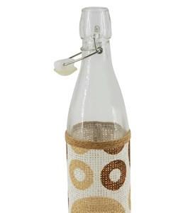 Imagen de Botella de vidrio con cierre hermético, arpillera con diseño, en caja