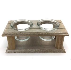 Imagen de Candelabro de vidrio x2 con base de madera