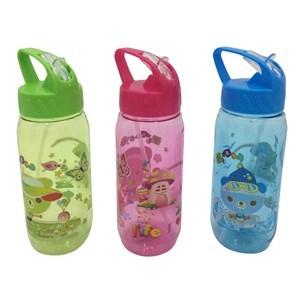 Imagen de Botella de plástico, pico retráctil, con asa, con diseño infantil, 2 colores