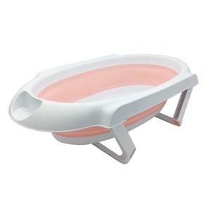 Imagen de Bañito de plástico y silicona para bebé con tapón, plegable, con patas, 2 colores