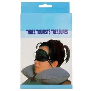Imagen de Almohada para viaje, tapones para oídos y antifaz, en caja, varios colores