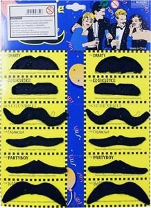 Imagen de Disfraz bigotes de fieltro autoadhesivo x12, en blister