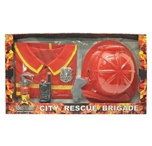 Imagen de Disfraz de bombero, casco, casaca y accesorios, en caja