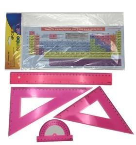Imagen de Juego de geometría 4 piezas, 30cm, con tabla periódica, en bolsa