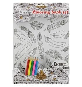 Imagen de Láminas para colorear x4, con 5 lápices de colores, en bolsa