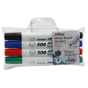 Imagen de Marcador de pizarra x4, de colores, punta redonda,  A+PLUS, en estuche PVC