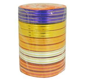 Imagen de Cinta de regalo borde dorado, 1.2cm de ancho, pack x10 rollos de varios colores