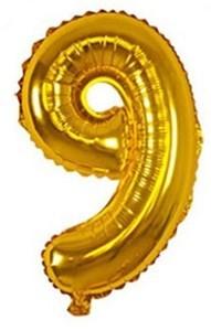 Imagen de Globo metalizado Nº9, en bolsa, plateado y dorado