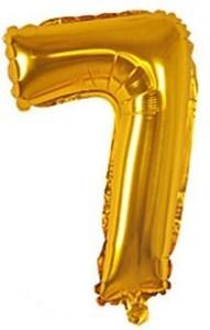 Imagen de Globo metalizado Nº7, en bolsa, plateado y dorado
