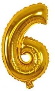 Imagen de Globo metalizado Nº6, en bolsa, plateado y dorado