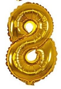 Imagen de Globo metalizado Nº8, en bolsa, plateado y dorado