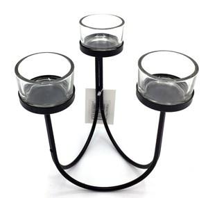 Imagen de Candelabro de vidrio x3, con base de metal, caja x2