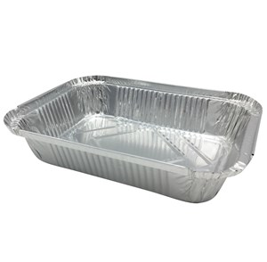 Imagen de Bandeja de papel aluminio rectangular, descartable, con tapa, pack x4