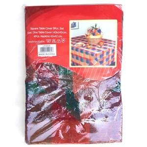 Imagen de Mantel cuadrado de poliéster, 143x143cm, con 4 servilletas, en bolsa, varios colores