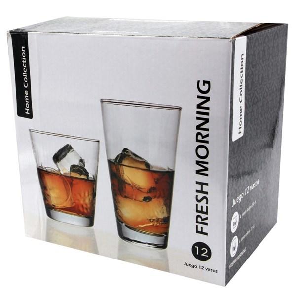 Imagen de Vaso de vidrio, set 6 cortos 250ml y 6 largos 300ml con diseño,  caja x 48unidades, pack de 12