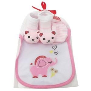Imagen de Medias para bebé con aplique, mitones, babero en bolsa de red, varios diseños
