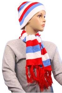 Imagen de Gorro y bufanda de lana a rayas, en bolsa