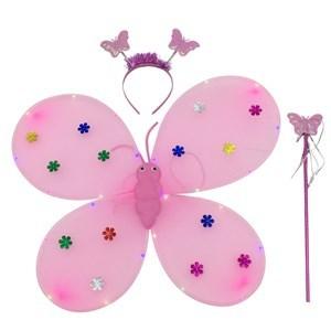Imagen de Disfraz alitas de mariposa con luces led, tiara y varita, 2AA, en bolsa, varios colores