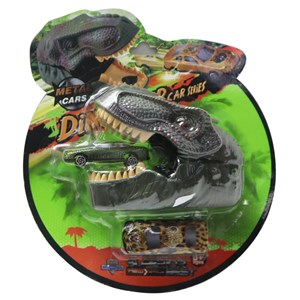 Imagen de Auto de metal x2, con lanzador dinosaurio, en blister