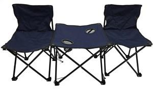 Imagen de Sillas x2 con mesa con posavasos, plegables, de polyéster, en funda