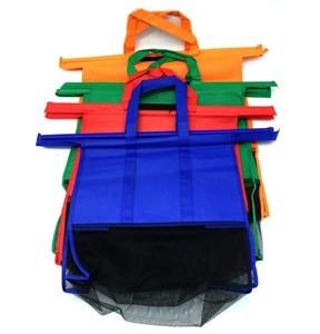 Imagen de Bolsa de TNT reforzado y red, para carrito, con asas, 4 tamaños, plegable, pack x4