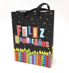 Imagen de Bolsa de regalo con diseño en 3D, asas de cinta satinada, pack x12, varios diseños
