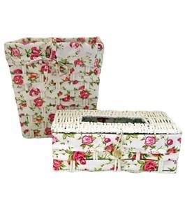 Imagen de Papelera y porta pañuelos forrados en tela