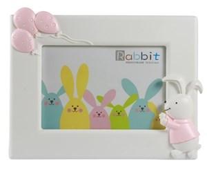 Imagen de Portarretrato infantil de plástico, en caja, rosado y verde