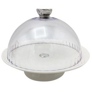 Imagen de Cubre torta, campana de acrílico plato de cerámica, para tortas de 20cm de diámetro, en caja