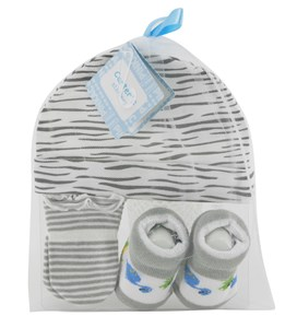 Imagen de Medias para bebé, 2 pares + gorro, en bolsa de organza, varios diseños.
