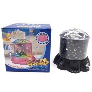 Imagen de Lámpara veladora, con proyector de estrellas y sonido, 3AA, en caja.