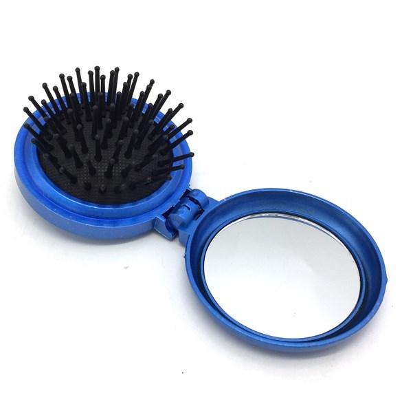 Imagen de Cepillo de pelo con espejo, plegable, en bolsa, varios colores