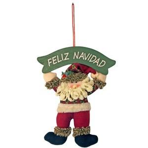 Imagen de Adorno para puerta Papá Noel de tela, con cartel, en bolsa