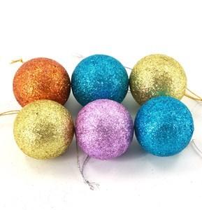 Imagen de Adorno navideño bolas x6, 3 texturas, varios colores, en caja de mica