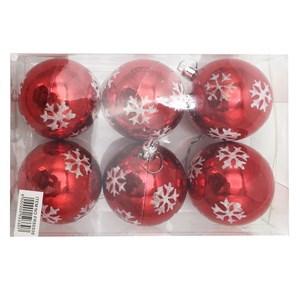 Imagen de Adorno navideño bolas x6, con diseño, varios colores, en caja de mica